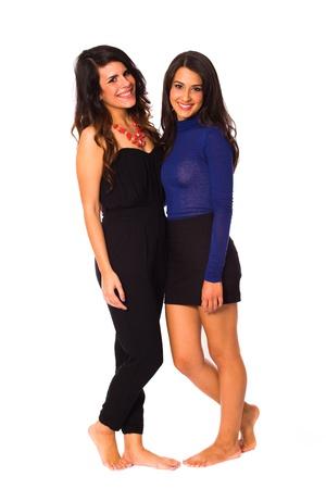 Schöne junge Brünette Frauen auf einem weißen Hintergrund. Standard-Bild - 16513356