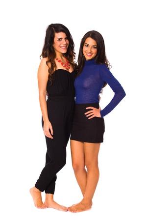 cuban women: Beautiful young brunette women on a white background.