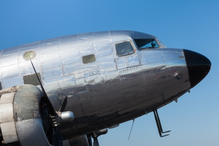 Close up view of a vintage propellar passenger airplane