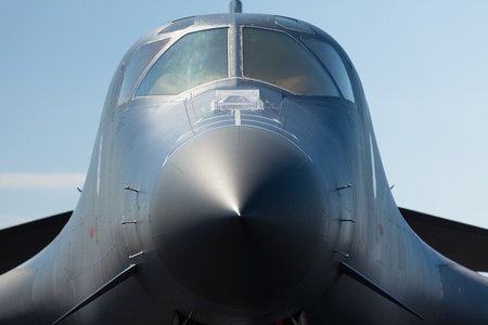 Close up view of the American military B-1 Lancer long range bomber