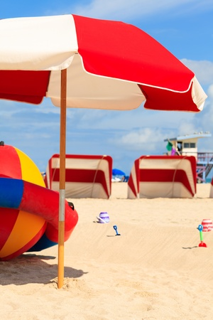 cabana: Beautiful Miami Beach with colorful umbrella and cabanas