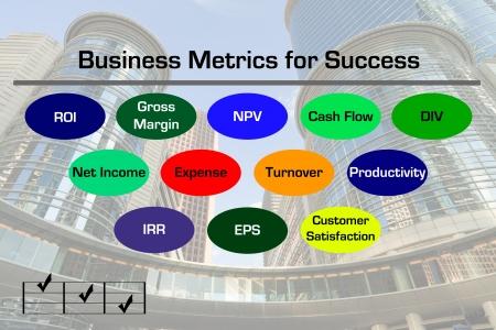 Diagram dat verschillende Business Metrics met het centrum van zakelijke wolkenkrabber afbeelding op de achtergrond Stockfoto