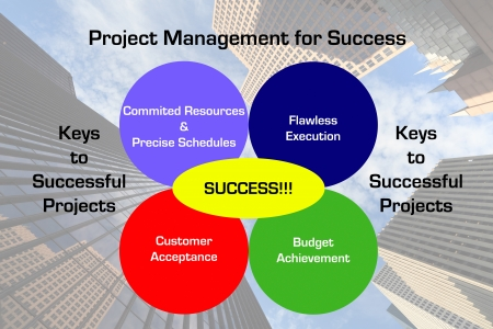 Diagram depicting the key elements to a successful project management execution with a downtown business skyscraper image in the background