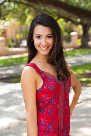 Beautiful multicultural young woman outdoor portrait Stok Fotoğraf - 16986564