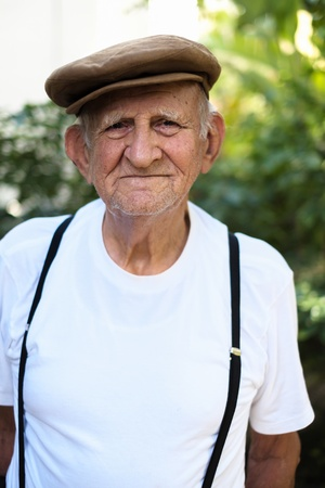 happy old man: Elderly 80 plus year old man outdoor portrait  Stock Photo