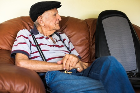Elderly 80 plus year old man portrait in a home setting  Stock Photo - 17335252