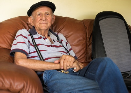 residence: Elderly 80 plus year old man portrait in a home setting
