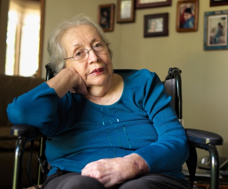 home health care: Elderly 80 plus year old woman portrait in a home setting