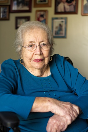 Elderly 80 plus year old woman portrait in a home setting  photo