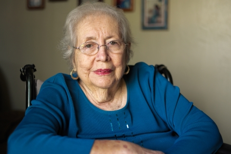Elderly 80 plus year old woman portrait in a home setting  Stock Photo - 17335263