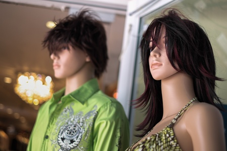 Close up view of male and female mannequins  photo