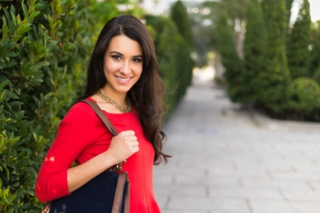 Beautiful young multicultural woman outdoor portrait  photo