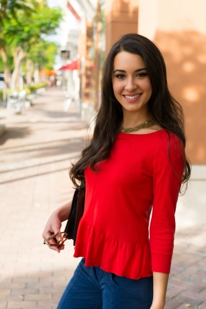 red indian: Beautiful young multicultural woman outdoor portrait