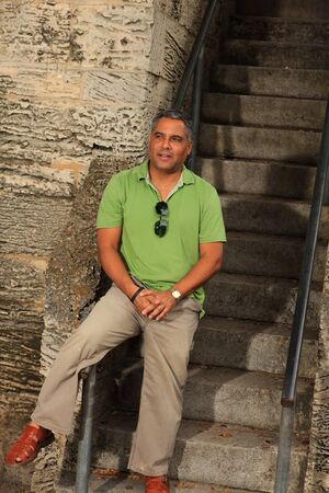 Handsome middle age hispanic man outdoor portrait  photo
