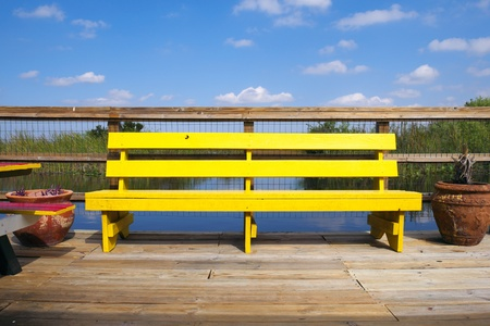 sawgrass: Colorful bench in the Florida Everglades