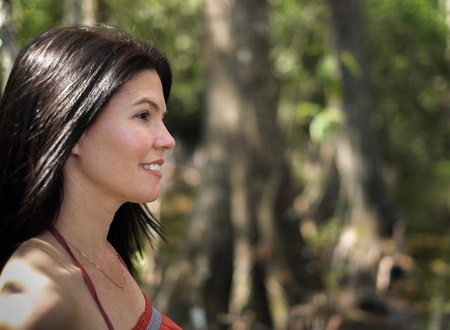 Beautiful woman enjoying the outdoors in the Florida Everglades  photo