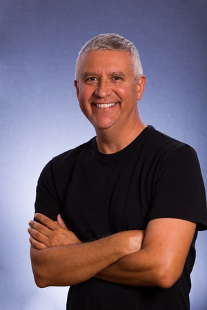 Handsome middle age man in a studio portrait  Stock Photo
