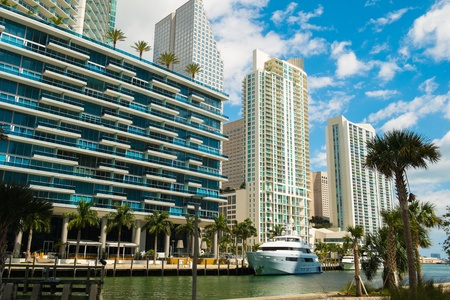 city of miami: Downtown Miami along the Miami River  Stock Photo