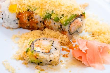 Close up view of a Japanese sushi shrimp tempura roll  Stock Photo