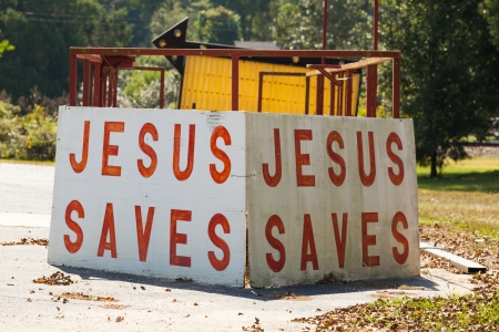Jesus saves sign on the road side in rural Alabama