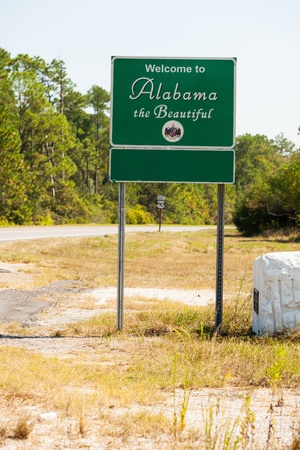 Welcome to Alabama state sign  Stock fotó