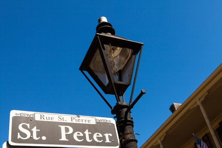 lamp: Saint Peter street sign in the French Quarter in New Orleans, Louisiana