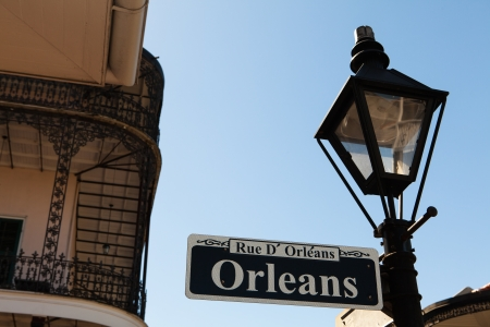 lamp post: Orleans street sign in the French Quarter in New Orleans, Louisiana  Stock Photo