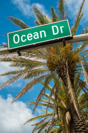 south beach: Ocean Drive street sign with palm tree in Miami Beach  Stock Photo