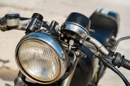 Close up view of a vintage motorcycle