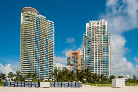 South Beach condo skyline along the shoreline in Miami Beach