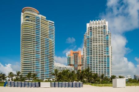 South Beach Condo Skyline entlang der Küste in Miami Beach Lizenzfreie Bilder