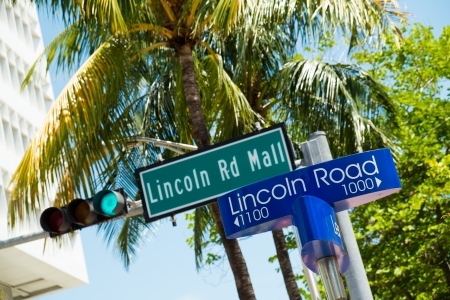 Lincoln Road Mall street signs located in Miami Beach. Stock Photo