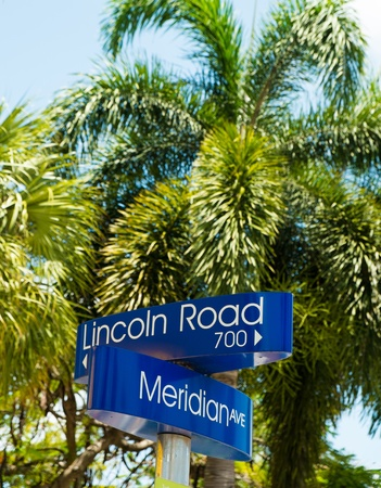meridian: Lincoln Road and Meridian Avenue street signs located in Miami Beach.