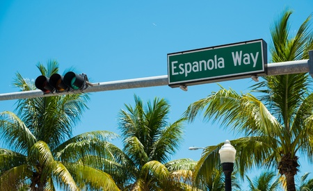 Espanola Way street sign located in Miami Beach. photo