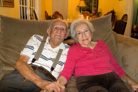 Elderly 80 plus year old couple in an affectionate pose  Standard-Bild