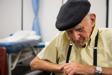 octogenarian: Elderly 80 plus year old man receiving physical therapy