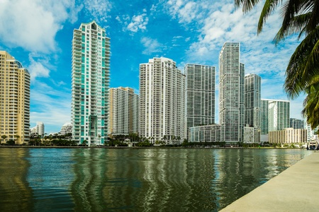 Downtown Miami along the Miami River inlet with Brickell Key in the background Stock Photo - 21078018