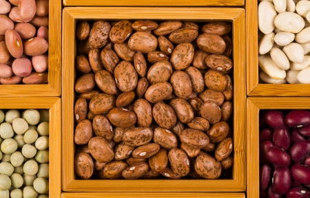 contained: Close up view of a collection of various beans contained in wood boxes
