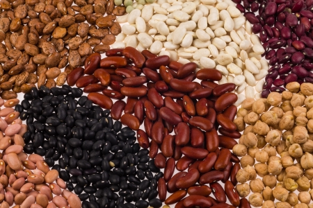 earthly: Collection of various beans on a white background  Stock Photo