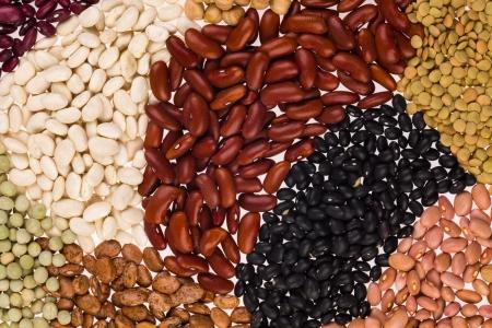 leguminosas: Colección de varios granos en un fondo blanco Foto de archivo