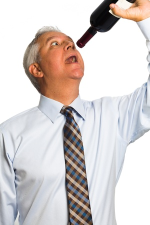 neck tie: Handsome middle age man drinking wine from a bottle on a white background