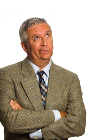 gray suit: Handsome middle age man portrait on a white background.