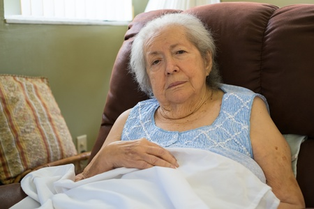 the elderly residence: Elderly 80 plus year old woman in a home setting