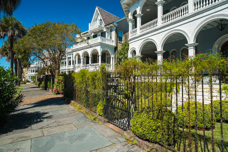 Historic southern style homes in Charleston, South Carolina.