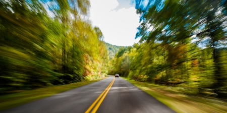 parkway: View of the Blue Ridge Parkway with motion blur.