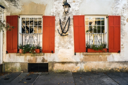 Historic southern french style architecture in Charleston, South Carolina.