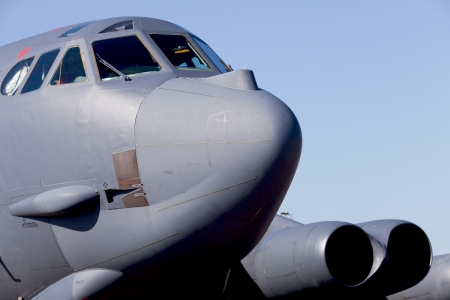Close up view of the American B-52 Stratofortress long range bomber.