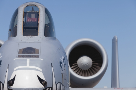 modern fighter: Close up view of the American A-10 Thunderbolt Warthog jet.