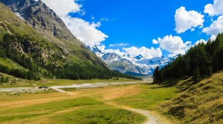 Schweizer Bergwelt des Morteratsch-Gletscher-Tal Wanderweg in der Berninagruppe der Bündner Alpen.