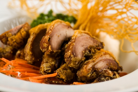 person appetizer: Gourmet sliced Asian fried duck served with crispy noodles and vegetables on a white plate.